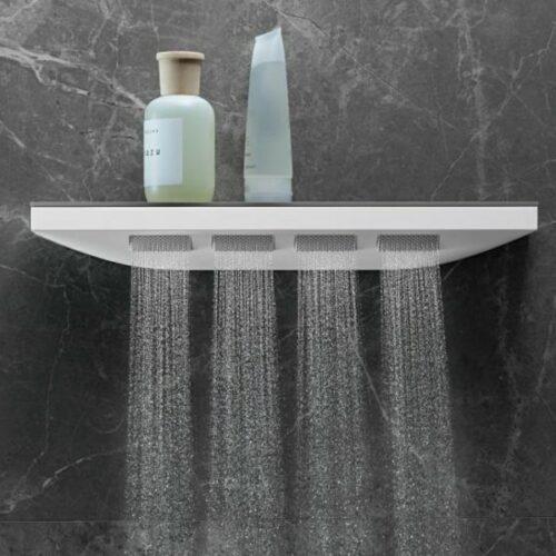 Hansgrohe Rainfinity 1jet shoulder shower with shower shelf matt white