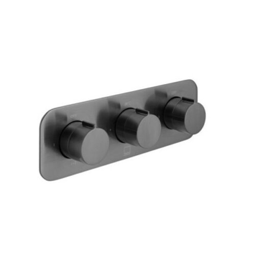 Brushed Black 3 Outlet Thermostatic Tablet Valve