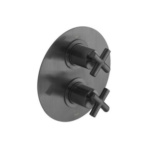 Elements 2 Outlet 2 Handle Concealed Thermostatic Shower Valve Wall Mounted Brushed Black