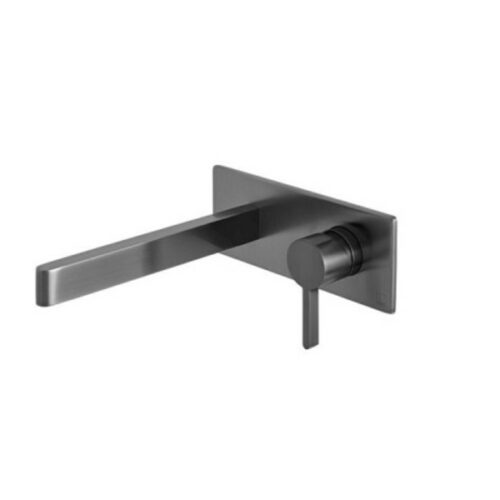 Edit Wall Mounted Single Lever Mixer with Wall Spout 220mm Brushed Black