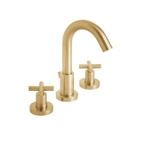 Elements 3 Hole Basin Mixer Deck Mounted with Pop-Up Waste Brushed Gold