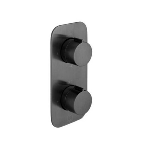Brushed Black 2 Outlet Thermostatic Tablet Valve