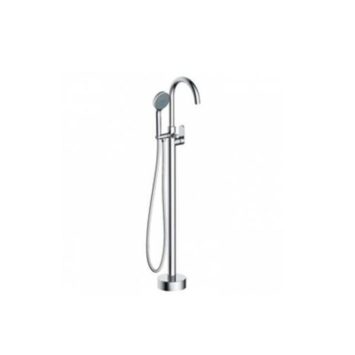 Blutide Bay Round Chrome Freestanding Mixer with Hand shower