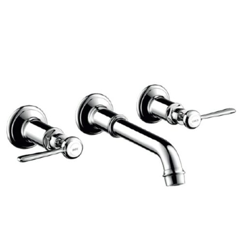 AXOR Montreux wall-mounted three hole basin fitting, with levers chrome